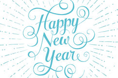 Blue lettering Happy New Year for greeting card on. White background. Vector illustration royalty free illustration