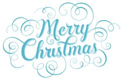 Blue lettering Merry Christmas for greeting card on white background. Vector illustration. Blue lettering Merry Christmas for greeting card on white background Stock Illustration