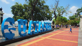 Blue letters forming the word Guayaquil on the Malecon 2000. Royalty Free Stock Photography
