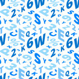 Blue letters in isometric projection on white, seamless pattern. A lot of blue letters in isometric projection on white, seamless pattern Royalty Free Stock Photography