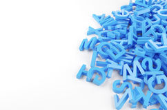 Blue letters. Many blue letters isolated on white. 3d rendered Royalty Free Stock Image