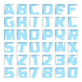 Blue letters and numbers. Cropped font Royalty Free Stock Image