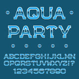Blue letters and numbers. Festival banner font. Isolated english alphabet with text Aqua Party Royalty Free Stock Photos