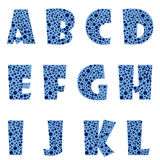 Blue letters. Twelve blue letters with blue bubbles inside them stock illustration