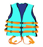 Blue life jacket. Design of blue life jacket for safety life in water Royalty Free Stock Images