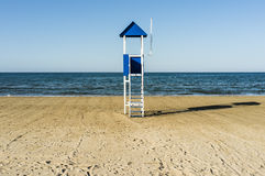Blue beach lifeguard hut Royalty Free Stock Photos