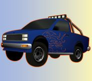 Blue lifted pickup with big wheels stock illustration