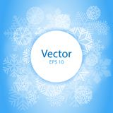 Blue Light Abstract Circle Frame with Snowflakes. Christmas frame on snow background with space for text. vector Stock Image