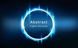 Blue light abstract glowing effect neon circle frame, ring bright shining technology background vector illustration royalty free illustration