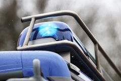 Blue light as a decoration on vehicles. Of a carnival parade Royalty Free Stock Photography