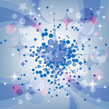 Blue light background. Christmas star background, stars and snow royalty free illustration
