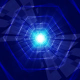 Blue Light Background Shows Hexagons Beams And Shining Stock Photo