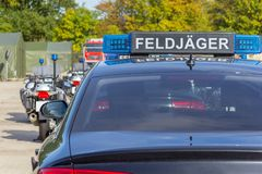 Blue light bar from a civil feldjaeger, military police car Stock Images