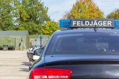 Blue light bar from a civil feldjaeger, military police car Stock Photos