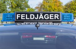 Blue light bar from a civil feldjaeger, military police car royalty free stock photography
