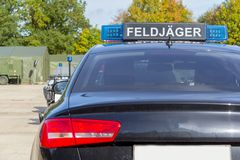 Blue light bar from a civil feldjaeger, military police car Royalty Free Stock Photo