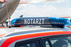 Blue light bar on a german emergency car Royalty Free Stock Photography