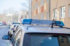 Blue light bar from a german police car. In a street Stock Photos
