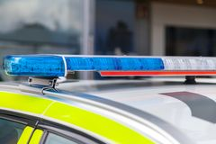 Blue light bar on a swedish police Royalty Free Stock Image