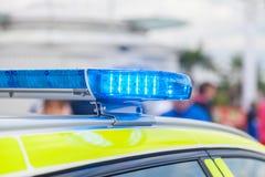 Blue light bar on a swedish police. Vehicle Stock Image