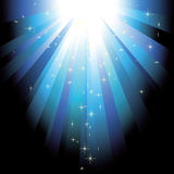Blue light beams with glitter stars Royalty Free Stock Photos