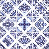 Blue and light blue ornamental azulejos tiles. Vintage decorative ornament illustration. stock illustration