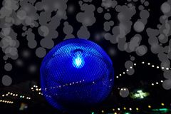 Blue light and bokeh in the dark night royalty free stock photos