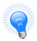 Blue light bulb. Light bulb with beams. Vector illustration Stock Images