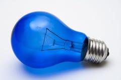 Blue light bulb stock image