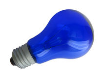 Blue light bulb. Isolated on white Stock Photography