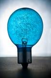 Blue light bulb. Back lit blue light bulb or globe showing filaments in glass, studio background stock photo