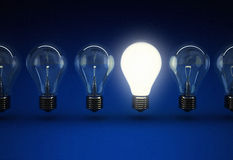 Blue light bulb idea concept. 3d high quality rendering Stock Photography