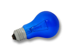 Blue light bulb, isolated on white background Stock Photos