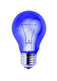 Blue light bulb isolated on white background Stock Photo