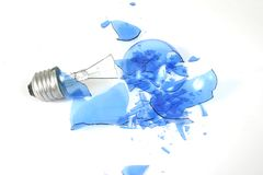Blue light bulb smashed 2 Royalty Free Stock Image