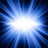 Blue light burst with stars Royalty Free Stock Image