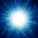 Blue light burst with stars Stock Photography