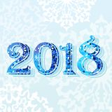 2018 blue light card. 2018 Happy new year. Greeting card. Brilliant figures with an ice texture on a blue snowy winter background. Flat vector cartoon Stock Photo