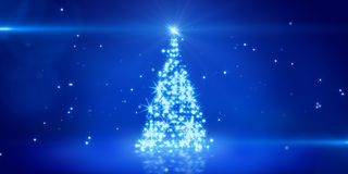 Blue light christmas tree Stock Photos