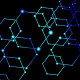 Blue light connected dots abstract background Stock Image