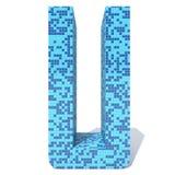 Blue light dark square mosaic ceramic glass tiles font. Conceptual blue light and dark square mosaic ceramic or glass tiles font isolated on white background. 3D Stock Photo
