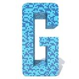 Blue light dark square mosaic ceramic glass tiles font. Conceptual blue light and dark square mosaic ceramic or glass tiles font isolated on white background. 3D Stock Photos