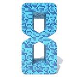 Blue light dark square mosaic ceramic glass tiles font. Conceptual blue light and dark square mosaic ceramic or glass tiles font isolated on white background. 3D Stock Image