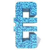 Blue light dark square mosaic ceramic glass tiles font. Conceptual blue light and dark square mosaic ceramic or glass tiles font isolated on white background. 3D vector illustration