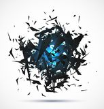 Blue light explosion of black particles on white Stock Photography