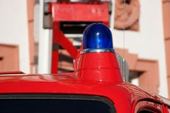 Blue light fire brigade car Royalty Free Stock Images