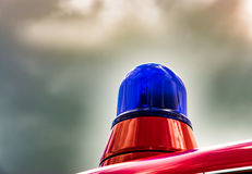 Blue light of a fire truck oldtimer Royalty Free Stock Image