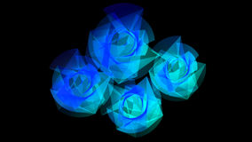 Blue Light Flowers. Futuristic light flowers in blue and white harmonic lines Stock Photo