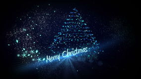 Blue light forming christmas tree design with greeting stock footage