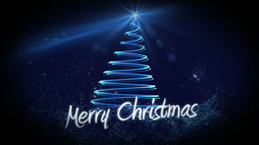 Blue light forming christmas tree design with greeting stock video